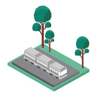 Isometrische ikone des busparkens und der baumszene