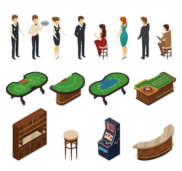 Isometrische ikone des farbigen und lokalisierten kasinos eingestellt mit hallenmöbeln und servicepersonal