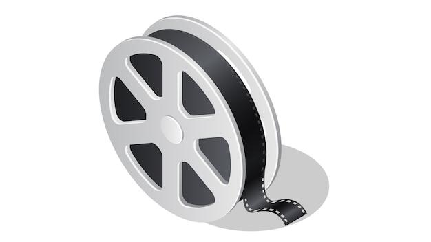 Isometrische ikone des kinos mit schattenillustration