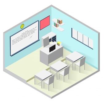 Isometrische ikone des klassenzimmers