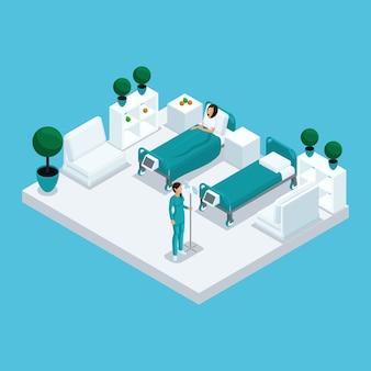 Isometrische ikone des krankenhausgebäudes mit vielen geschossen