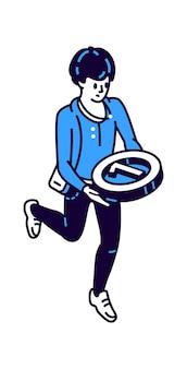 Isometrische ikone des mannes mit runder medaille für den ersten platz