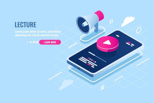 Isometrische ikone des on-line-vortrags, internetkursuhr auf handy, spielknopf auf bildschirm