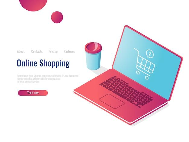 Isometrische ikone des onlineshops, laptop mit einkaufskorb, bestellkauf