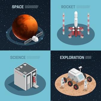 Isometrische ikone des raketenraums vier eingestellt mit wissenschaftserkundungsraum und raketenschlagzeilen vector illu