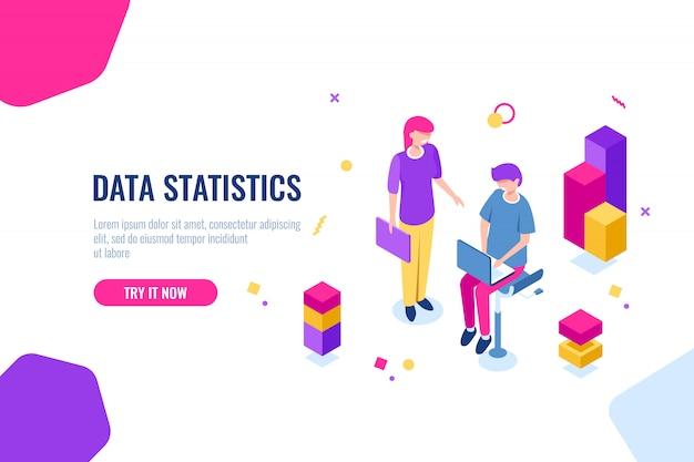 Isometrische ikone des unternehmensberatungsteams, seo-optimierungsprozess, datenverarbeitung und analyse