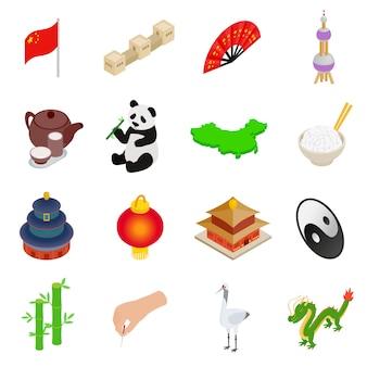 Isometrische ikonen 3d chinas lokalisiert auf weißem hintergrund