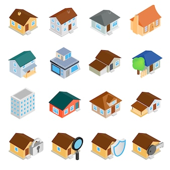 Isometrische ikonen 3d der häuser eingestellt