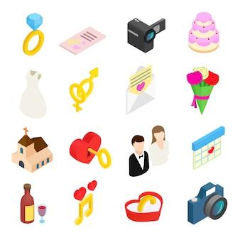 Isometrische ikonen 3d der hochzeits- und liebesfeier eingestellt