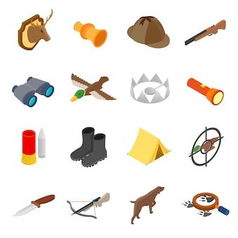 Isometrische ikonen 3d der jagd eingestellt