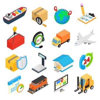 Isometrische ikonen 3d der logistik eingestellt