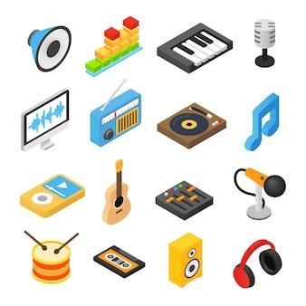 Isometrische ikonen 3d der musik eingestellt