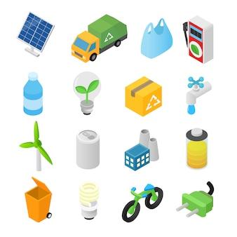 Isometrische ikonen 3d der ökologie eingestellt