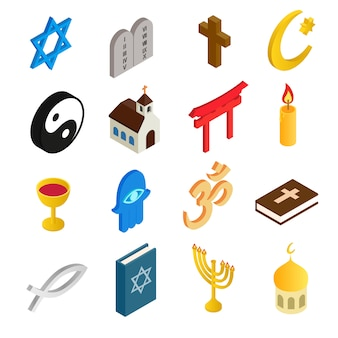 Isometrische ikonen 3d der religion eingestellt