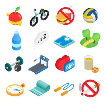 Isometrische ikonen 3d des gesunden lebensstils