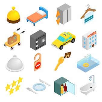 Isometrische ikonen 3d des hotels eingestellt