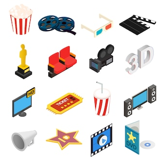 Isometrische ikonen 3d des kinos stellten lokalisiert auf weißem hintergrund ein