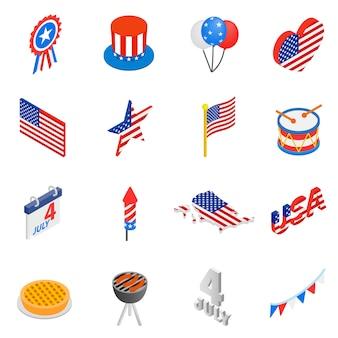 Isometrische ikonen 3d des unabhängigkeitstags eingestellt