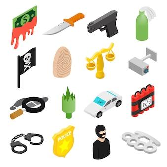 Isometrische ikonen 3d des verbrechens eingestellt