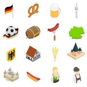 Isometrische ikonen 3d deutschlands eingestellt lokalisiert auf weißem hintergrund