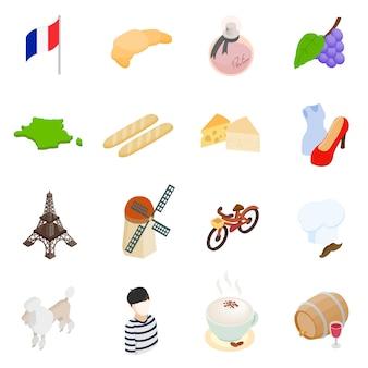 Isometrische ikonen 3d frankreichs eingestellt lokalisiert auf weißem hintergrund