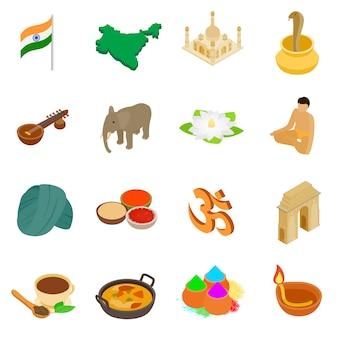 Isometrische ikonen 3d indiens eingestellt lokalisiert auf weißem hintergrund