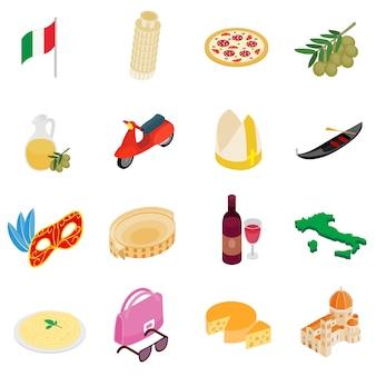 Isometrische ikonen 3d italiens eingestellt lokalisiert auf weißem hintergrund