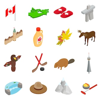 Isometrische ikonen 3d kanadas eingestellt lokalisiert auf weißem hintergrund
