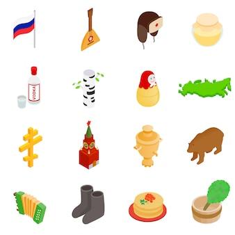 Isometrische ikonen 3d russlands stellten lokalisiert auf weißem hintergrund ein