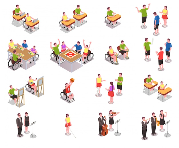 Isometrische ikonen der inklusive bildung stellten mit behindertern in den verschiedenen situationen in der schule lokalisiert auf weißem 3d ein