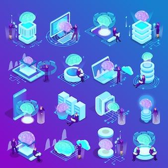 Isometrische ikonen der künstlichen intelligenz eingestellt von der datenverarbeitungsmaschinenprogrammierung der intelligenten uhren des glühengehirns wolke