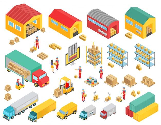 Isometrische ikonen der logistik, die mit isolierten vektorillustrationen der lastwagen, gebäude, lagerhäuser und personensymbole eingestellt werden