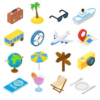 Isometrische ikonen der reise stellten lokalisiert auf weißem hintergrund ein
