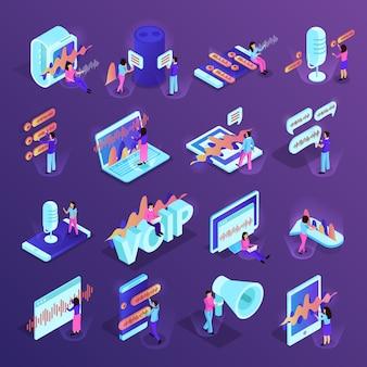 Isometrische ikonen der sprachsteuerung eingestellt von den verschiedenen geräten für intelligentes haus und von persönlichen geräten, welche die sprachverwaltungsprogramme lokalisiert unterstützen