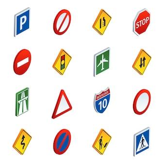 Isometrische ikonen der straßenverkehrszeichen eingestellt