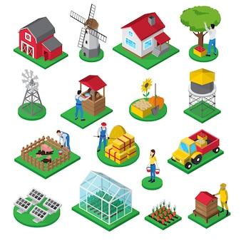 Isometrische ikonen des bauernhofes stellten mit bauernhauswindmühlenobstgartengewächshausbienenstock und hofanlagearbeitern ein