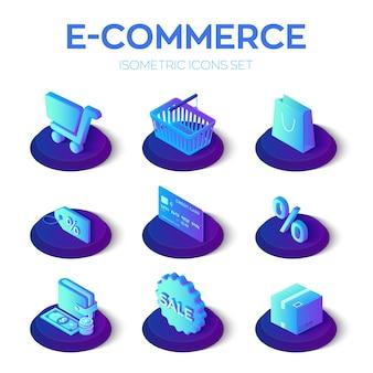 Isometrische ikonen des e-commerce 3d eingestellt.