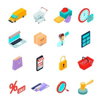 Isometrische ikonen des elektronischen handels mit geräten für das kaufen auf internet und einkaufssymbolen lokalisierten vektorillustration