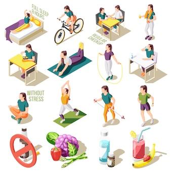 Isometrische ikonen des gesunden lebensstils guter schlaf und regelmäßige ernährung überprüfen isolierte illustration der sportaktivität