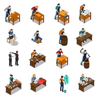 Isometrische ikonen des handwerkers eingestellt
