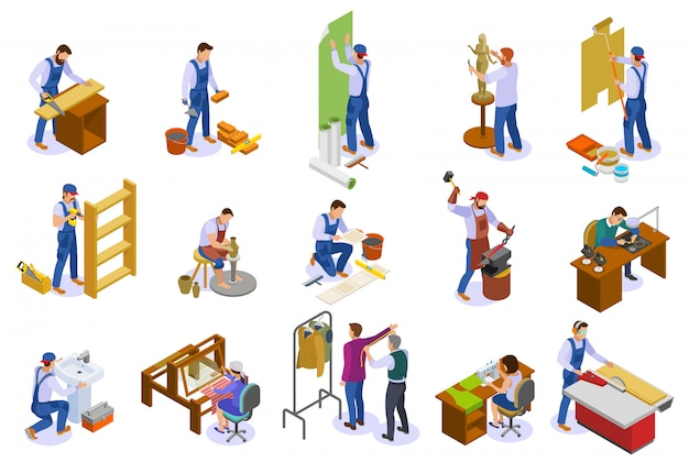 Isometrische ikonen des handwerkers stellten mit handwebstuhlwebertischler-bildhauerschneidertöpfer bei der lokalisierten arbeit ein