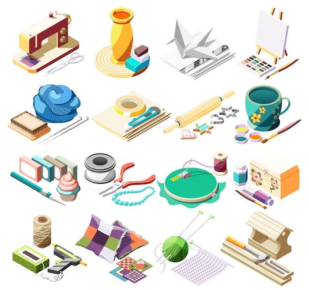 Isometrische ikonen des hobbyhandwerks stellten mit werkzeugen für das nähen der tonwarenmalerei ein, die das origamipatchwork 3d lokalisiert kocht