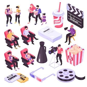 Isometrische ikonen des kino- und filmschießens stellten lokalisiert auf weißer illustration des hintergrundes 3d ein