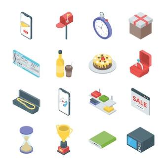 Isometrische ikonen des on-line-einkaufens