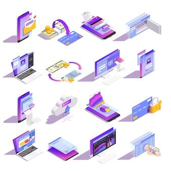 Isometrische ikonen-onlinesammlung der mobilen bankdienstleistungen des internets mit dem laden des geldes auf kartengebäudekredit