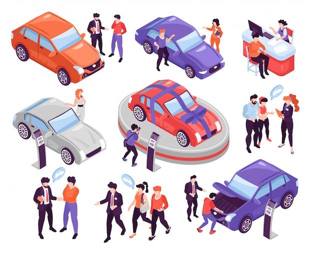 Isometrische ikonen stellten mit den leuten ein, die autos im ausstellungsraum besprechen und wählen, der auf weißer illustration des hintergrundes 3d lokalisiert wurde