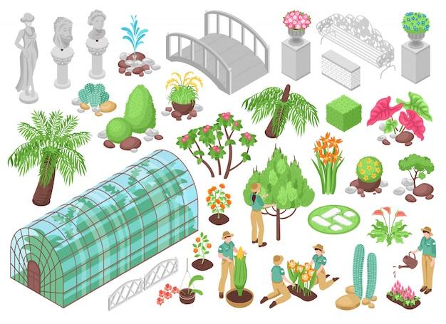Isometrische ikonen stellten mit verschiedenen baumbetriebsblumen und -dekorationen für den botanischen garten ein, der auf weißem 3d lokalisiert wurde