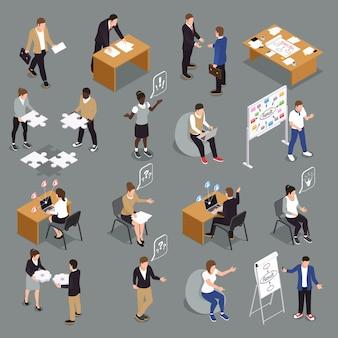 Isometrische ikonensammlung der effizienten zusammenarbeit der teamarbeit mit der interaktion von den vereinheitlichten ideen, welche die entscheidungen treffen leute gedanklich lösen