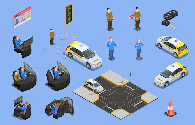 Isometrische ikonensammlung der fahrschule des autosimulatorführerscheins und der menschlichen charaktere mit sicherheitskegelillustration