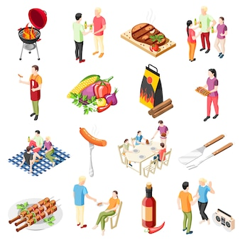 Isometrische ikonensammlung der grillgrillparty mit isolierten ikonen des grilllebensmittelgrills im freien und der leute